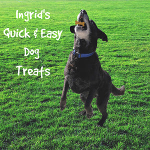 Ingrid's Quick & Easy Gluten Free Dog Treats- Only 3 Ingredients! BONUS! VEGAN People version!
