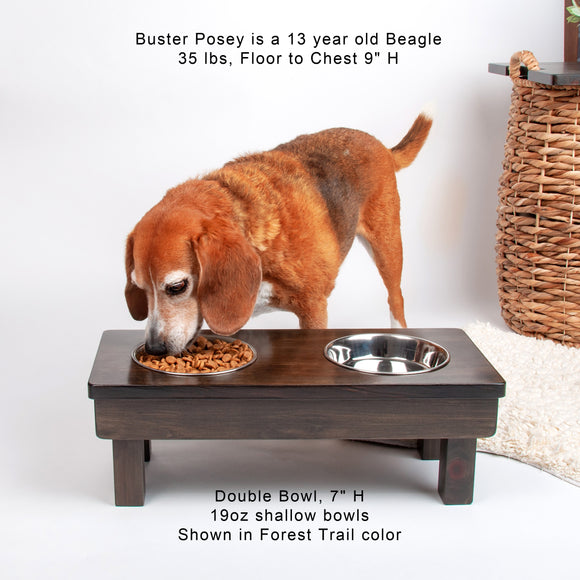 Raised Double Bowl for dogs cats, two stainless-steel bowls, 7
