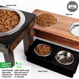 "Raised Double Bowl for dogs cats, two stainless-steel bowls, 7"" Small"