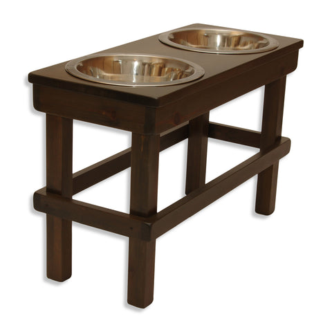 "Large (17"" tall) Elevated Pet Feeder with 3 Quart Stainless Steel Bowls **Original Design**"
