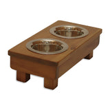 "Raised Dog Bowl 5"" tall Toy. Double Bowl Elevated Pet Feeder Stand."