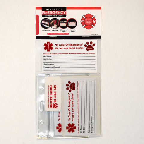 """ICE"" Cards & Key Fobs- In Case of Emergency, My Pet is Home Alone! Free Standard Shipping!"