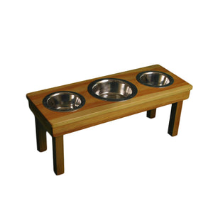 "Raised TRIPLE Bowl for dogs cats, three stainless-steel bowls, 12"" Medium"