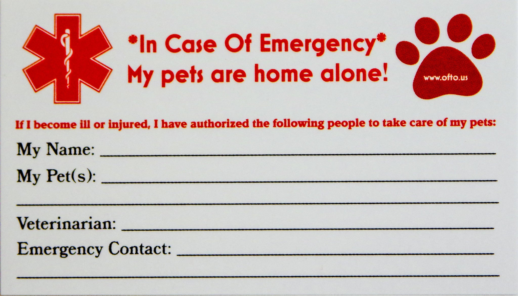 Pleasing Pet Emergency Package Reflective Stickers Ice Cards Beutiful Home Inspiration Aditmahrainfo