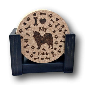"""I love my Eskie"" premium coaster set. Add a rustic or urban design Coaster Holder."