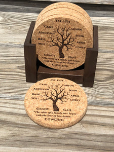 Family Tree Premium Coaster Set plus Coaster Holders Customized for you! Best Father's Day Gift!