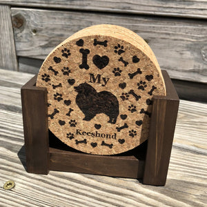 """I love my Keeshond"" premium coaster set. Add a rustic or urban design Coaster Holder."