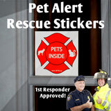 Pet Alert Rescue Stickers (2) Reflective Stickers UV & Weather Resistant- Lifetime Guarantee! Free Standard Shipping!