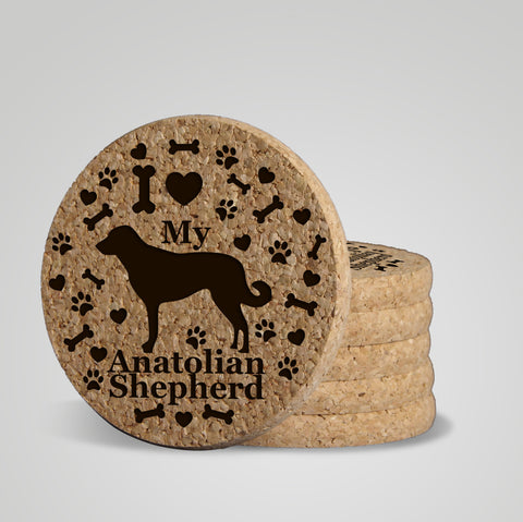 """I love my Anatolian Shepherd"" premium cork drink coasters. USA Laser Engraved 3/8"" thick eco-friendly 4, 6, 8 or 12 pack"