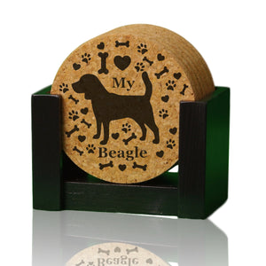 """I love my Beagle"" premium coaster set. Add a rustic or urban design Coaster Holder."