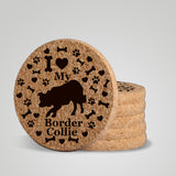 """I love my Border Collie"" premium coaster set. Add a rustic or urban design Coaster Holder."