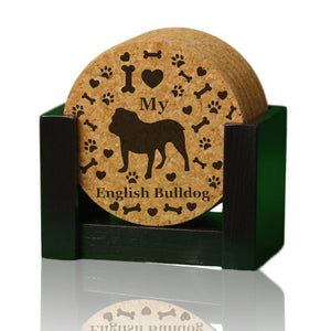 """I love my English Bulldog"" premium coaster set. Add a rustic or urban design Coaster Holder."
