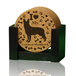 """I love my German Shepherd"" premium coaster set. Add a rustic or urban design Coaster Holder."