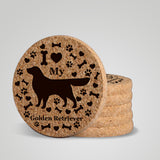 """I love my Golden Retriever"" premium coaster set. Add a rustic or urban design Coaster Holder."