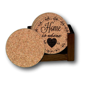 """Home Is Where The Heart Is"" Premium Home Coaster Set with personalization options!"