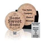 """Home Sweet Home"" Premium Home Coaster Set with personalization options!"