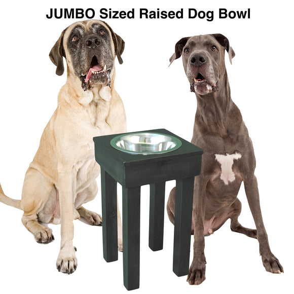 Raised Single Bowl for large dogs, two stainless-steel bowls, 24
