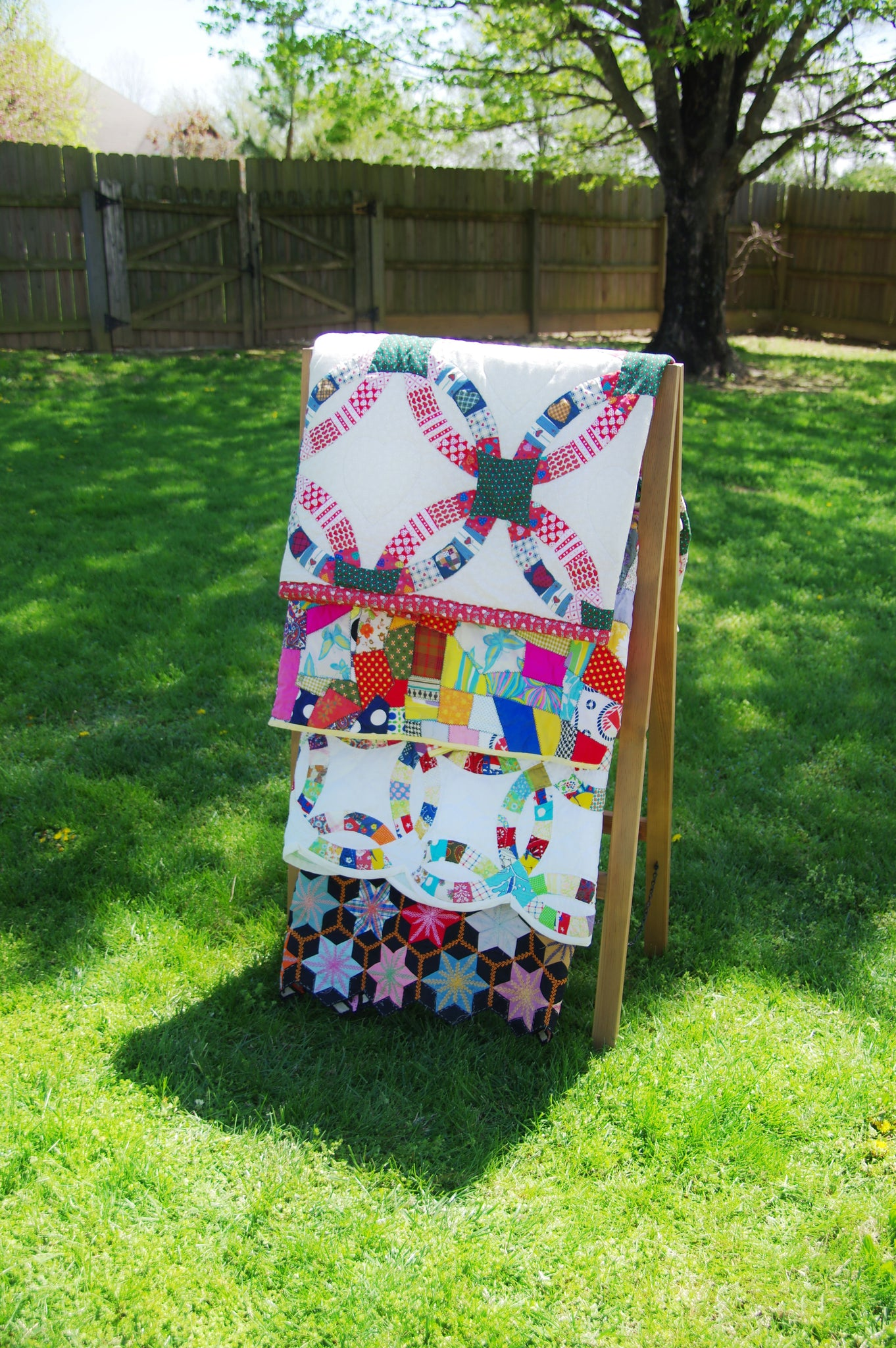 Furniture 4 Tier Quilt Ladder Holds 7 Blankets Or Afghans For Vender Displays Ofto Handmade Rack Shams And A Comforter Folds Flat Storage Non Toxic Finish Great Pillows Craft Show Booths