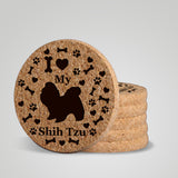 """I love my Shih Tzu"" premium coaster set. Add a rustic or urban design Coaster Holder."