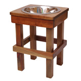 "Raised Dog Bowl 17"" tall Large. Single Bowl Elevated Pet Feeder Stand. Heirloom. Great for Large Dogs, Pigs & Goats!"