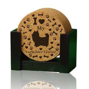 """I love my Yorkshire Terrier"" premium coaster set. Add a rustic or urban design Coaster Holder."