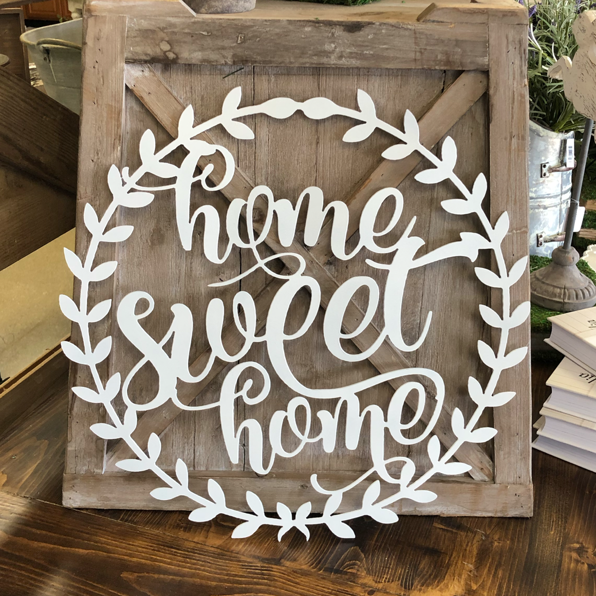 """Home Sweet Home"" Laurel Wreath Door Hanger"