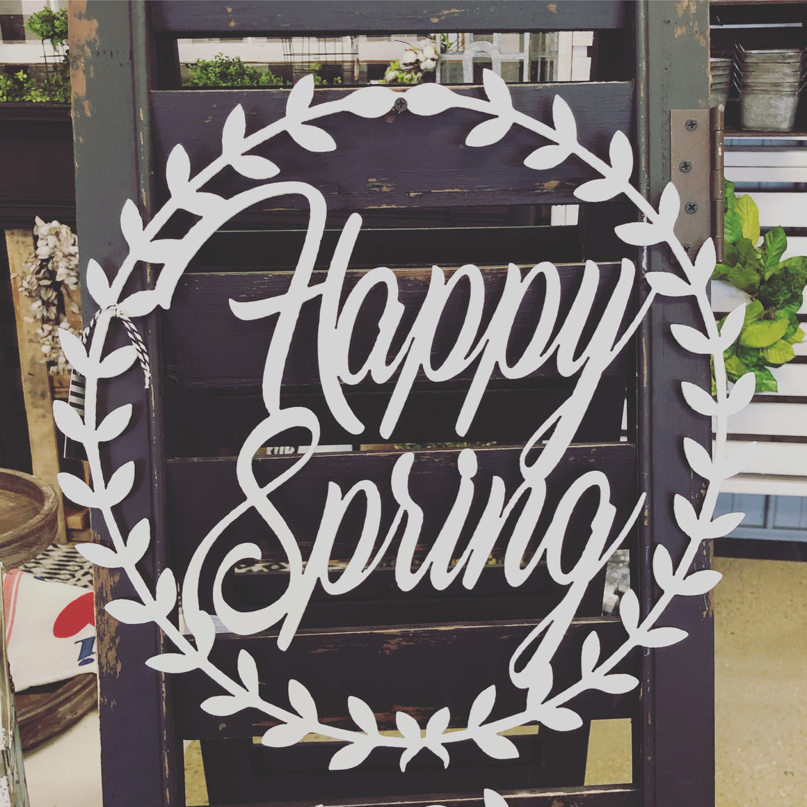 """Happy Spring"" Laurel Wreath Door Hanger"