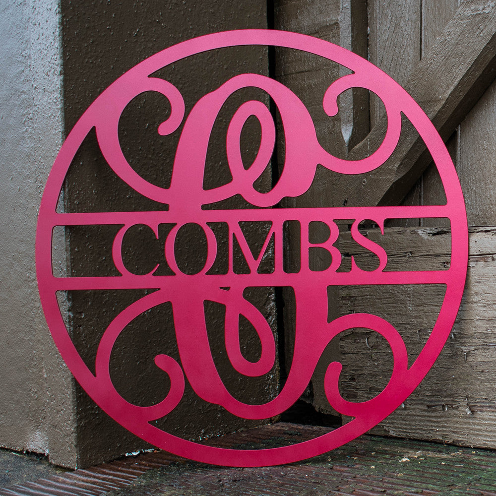 Custom Metal Circle Monogram with Last Name