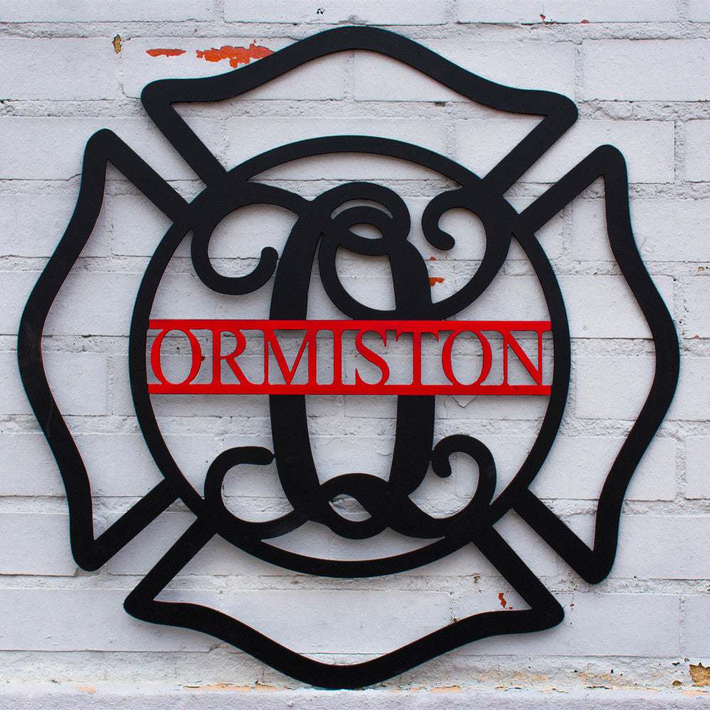 Custom Monogrammed Firefighter's Maltese Cross Door Hanger
