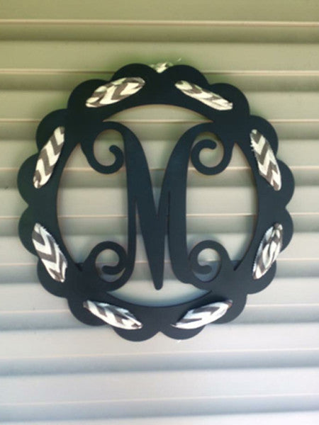 Scalloped Circle Monogram with Ribbon Holes -