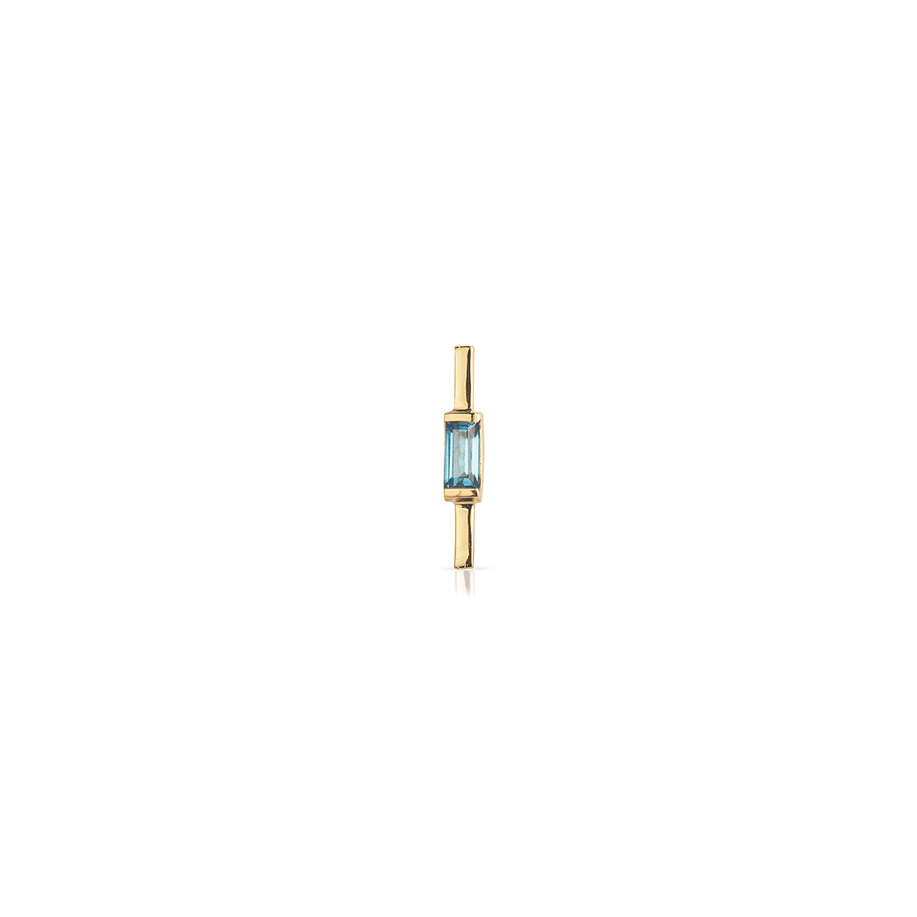 14k Yellow Gold Bar<br> with London Blue Topaz Baguette
