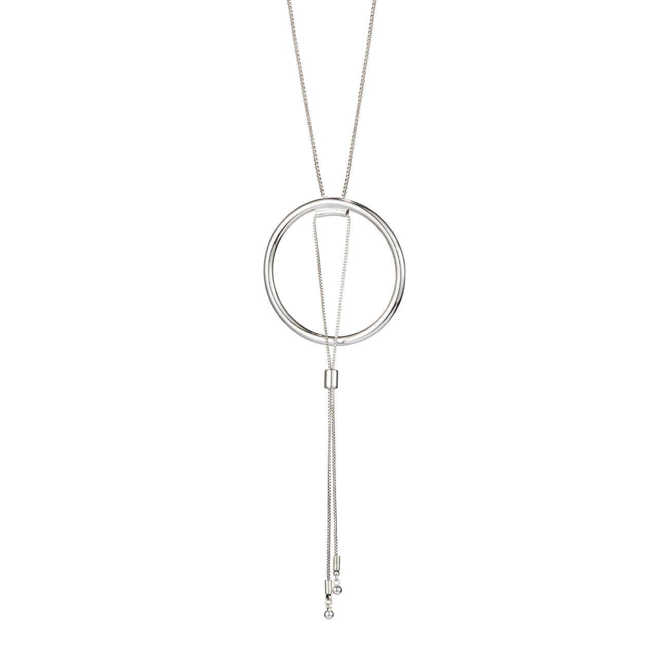 Silver adjustable Sadie Pendant necklace by Jenny Bird.