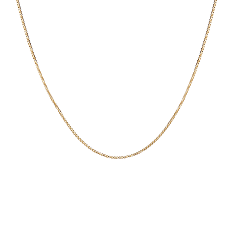 Long, thin gold box Corey Chain necklace by JENNY BIRD