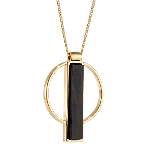 Jenny Bird Pollux Pendant in Gold with Black Resin Stone