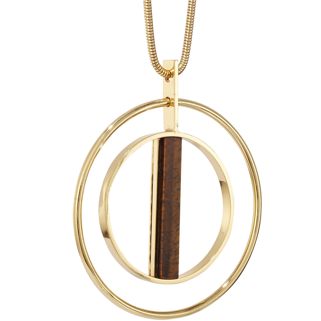 Lennox Pendant by Jenny Bird in Gold with Tiger's Eye Stone