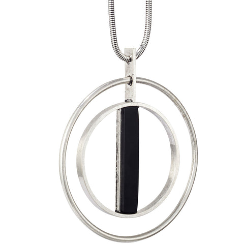 Lennox Pendant by Jenny Bird in Silver Ox with Black Resin Stone