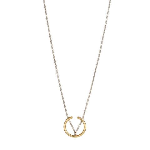 Arc Pendant Necklace By Jenny Bird in Two Tone