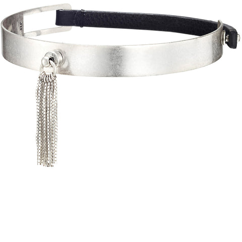 The Muse Choker by Jenny Bird in Silver with Short Tassel