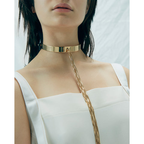 The Muse Choker by Jenny Bird in High Polish Gold with Long Tassel