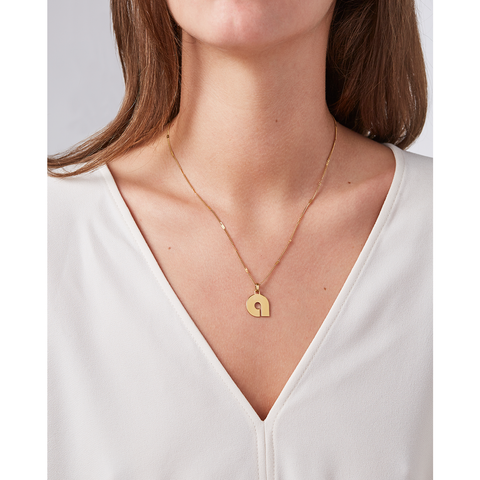 Gold personalized initial letter Modernist Monogram pendant necklace by JENNY BIRD
