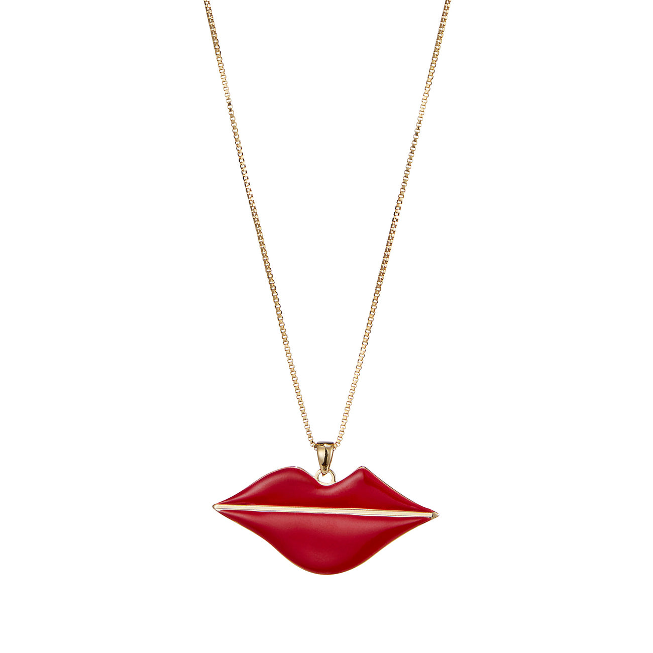 The La Bouche Pendant by Jenny Bird in High Polish Gold with Red Enamel