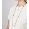 Long gold square Jasmine Necklace with chains by Jenny Bird