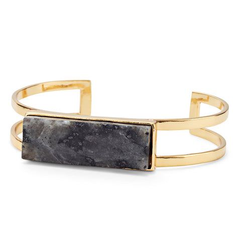 Lizzie Cuff by Jenny Bird in Gold with Labradorite Stone