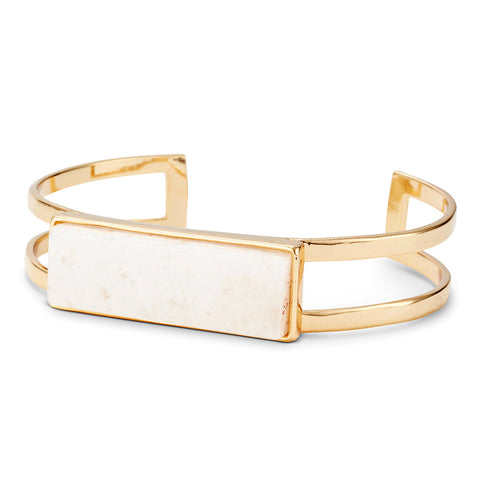 Lizzie Cuff by Jenny Bird in Gold with Milky Jade Stone