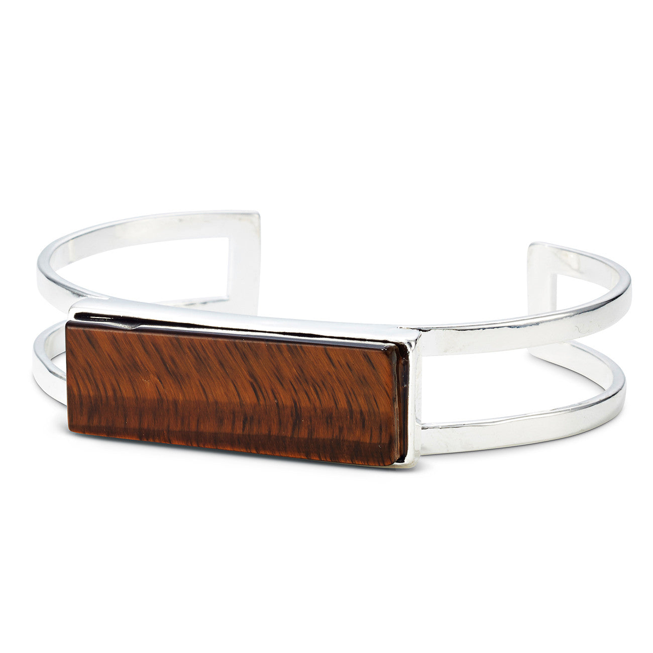 Lizzie Cuff by Jenny Bird in Silver with Tiger's Eye Stone