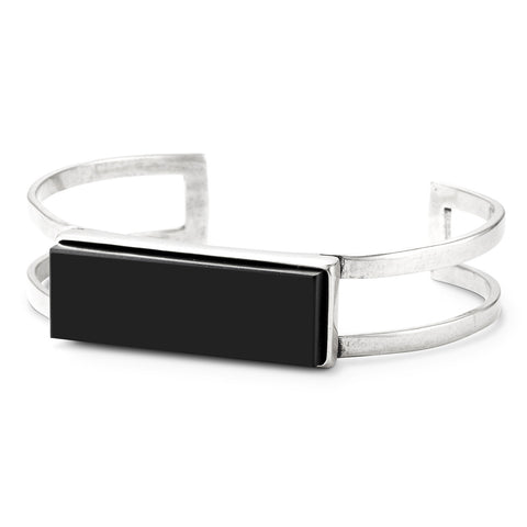 Lizzie Cuff by Jenny Bird in Silver Ox with Black Resin Stone