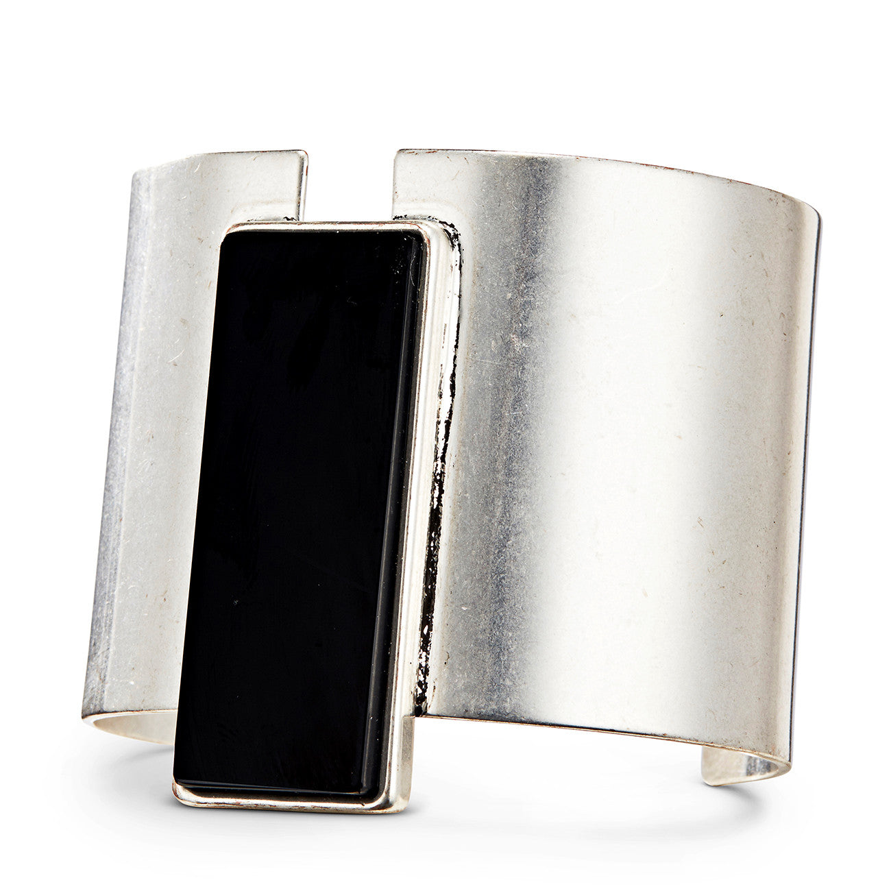 Charlie Cuff by Jenny Bird in Silver Ox with Black Resin Stone