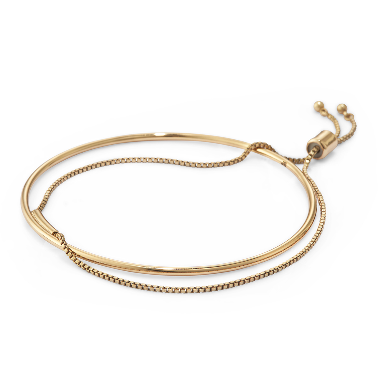 Thin Gold adjustable Sadie Bangle bracelet by Jenny Bird