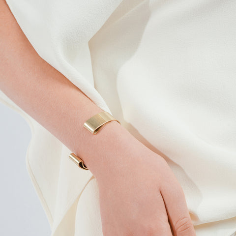 The Serra Cuff by Jenny Bird in antique Gold