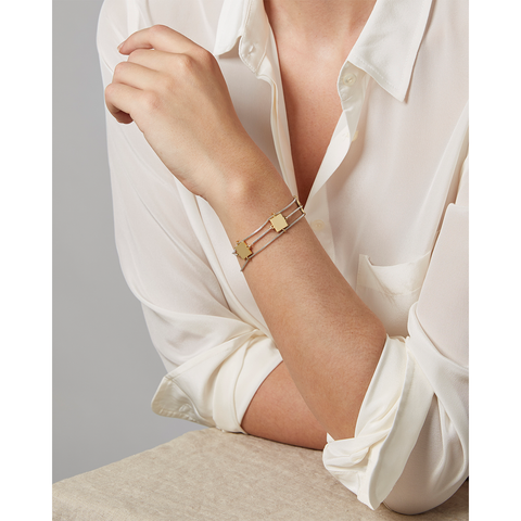 Gold and silver delicate chain and square Jasmine Bracelet by Jenny Bird
